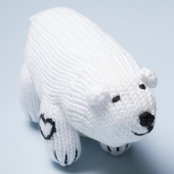 Organic Polar Bear Rattle Baby Toy