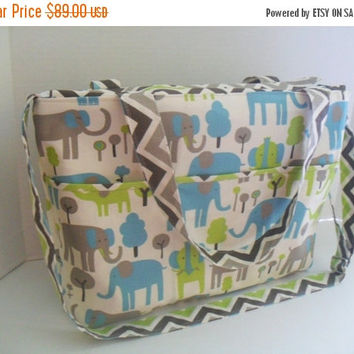 SALE Large Diaper Bag - Elephant - Zipper Closure - Messenger - Tote Bag - Diaper Bag - Stroller Strap - Monogramming Available - Laptop