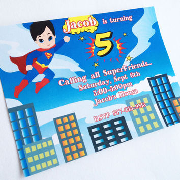 Superhero Invitation Boy Birthday Party Superman Spiderman Batman Theme