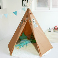 Brown teepee tent, children indian tent, baby play house,kids play tent