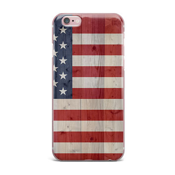 "Bruce Stanfield ""USA Flag On Spruce"" Blue Red iPhone Case"