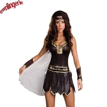 Free Shipping Ladies Cosplay Gladiator Warrior Princess Roman Spartan Fancy Dress Costume & Cape M,XL