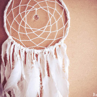 Dream Catcher - Whiteness - With Pure White Feathers, Unique Floral Laces and Textiles - Boho Home Decor, Nursery Mobile