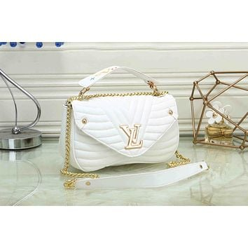 LV Louis Vuitton Fashion Women Leather Metal Chain Shoulder Bag Handbag Crossbody Satchel(4-Color) White I-OM-NBPF
