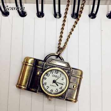Vintage Antique Bronze Alloy Pocket Camera & Sewing Machines Design Quartz Watch Pendant With Chain Unisex Dress Watch #LWN