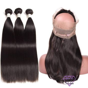 Brazilian Silky Straight Hair Extensions 3 Bundles With 360 Lace Frontal Closure