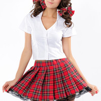 V-Neck Button Down  Pleated Lace Trimmed  School Girl Costume