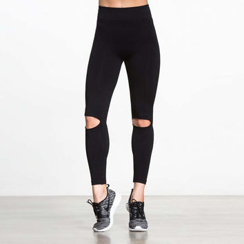 Hollow Out Leggings Ripped Holes Yoga Sports Gym Women's Fashion Sportswear [10182760199]