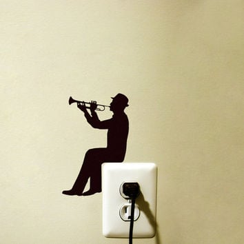 Light Switch Velvet Sticker  - Trumpet Wall Decal - Music Wall Art - Music Lover Decor - Man Playing Trumpet