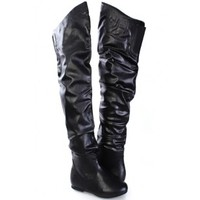 Black Faux Leather Slouchy Riding Boots
