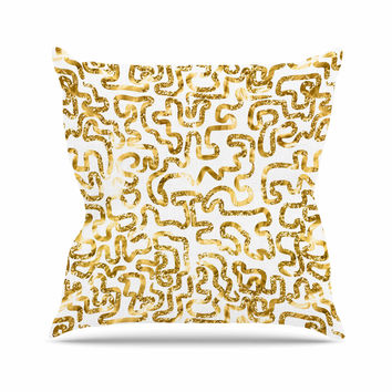 "Anneline Sophia ""Squiggles in Gold"" Yellow White Outdoor Throw Pillow"