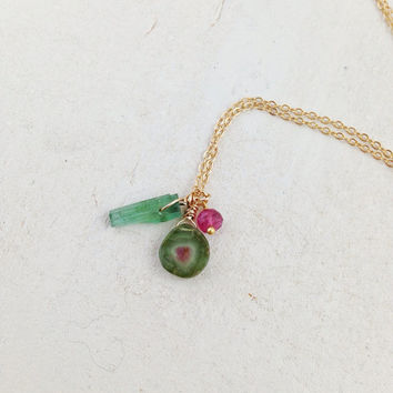 Watermelon tourmaline pendant necklace - October birthstone