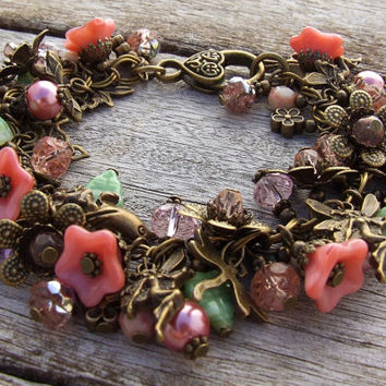 FAIRIES in my GARDEN Beaded Charm Bracelet - Victorian Vintage Styled  - Pink and Green - Fantasy Fairy theme - Fae  By White Raven Designs