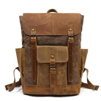 Wohen Men's Large Capacity Leather Canvas Waterproof Military Laptop Bag Backpack