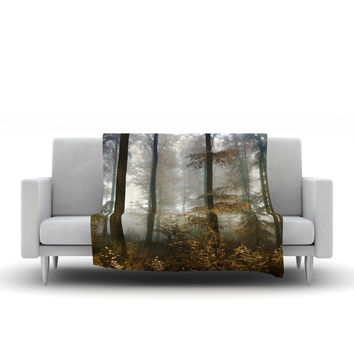 "Iris Lehnhardt ""Forest Mystics"" Brown Gray Fleece Throw Blanket"