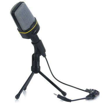 New Professional Condenser Sound Wired Microphone Microfone with Stand Holder Clip for Chatting Singing Karaoke PC Laptop