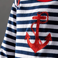 Powell Craft Blue & White Stripe Anchor Lap Neck Tee - Infant, Toddler & Boys | zulily