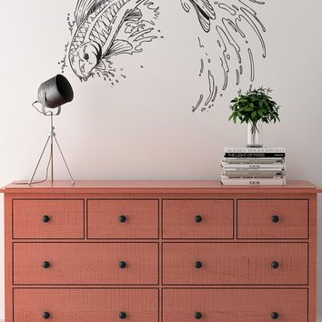 Japanese Koi Fish Jumping out of Pond Wall Decal. Asian Theme Decor. #367