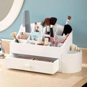 White Wooden Makeup Cosmetic Beauty Organizer with Storage Drawer & 14 Compartments Bathroom Organizer By Nyconnection535