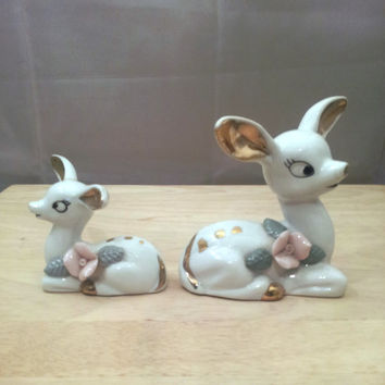 Vintage Deer Figurines Set Porcelain White/Gold Roses 1950s Baby Doe Fawn Collectibles Japan Kitsch