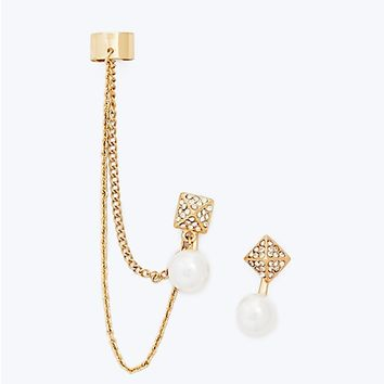 Pave Pyramid Pearl Cuff Earring Set