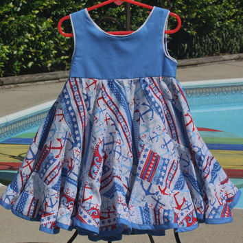 Swirly dress, twirly dress, party dress, birthday party dress, sun dress,  nautical, red,white,and blue