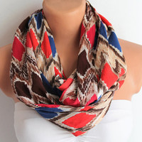Infinity Scarf Loop Scarf Circle Scarf Chevron Zigzag Soft and Lightweight Red Brown Navy Blue