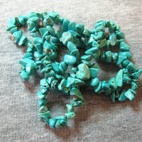 Blue Magnesite Chip Beads Designs Jewelry Necklaces Full Strand Endless Loop Necklace 32""