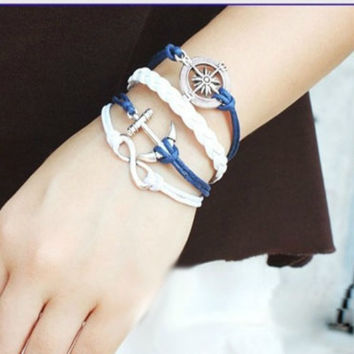 Nautical Sweet Stack Navy and White Anchor and Wheel Bracelet