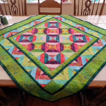 Bright Handcrafted Batik Quilt lap quilt baby quilt table topper quilt green red blue yellow purple