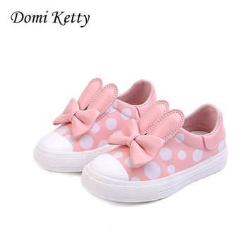 Domi Ketty kids girls princess Shoes with bow fashion sneakers children baby casual sport shoes cute girl spring flats shoes