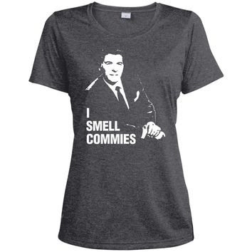 Ronald Reagan I Smell Commies Funny Political T-Shirt-01  LST360 Sport-Tek Ladies' Heather Dri-Fit Moisture-Wicking T-Shirt
