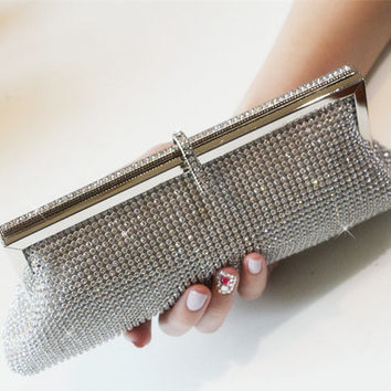Women clutch silver rhinestone evening bag chain girl party purse women wedding day clucth bag lady Casual Clutch