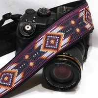 Native American Camera Strap (inspired). DSLR SLR Camera Strap. Black Purple Camera Strap. Camera Accessories