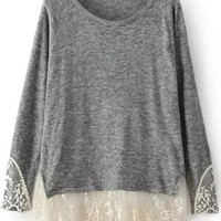 Grey Long Sleeve Contrast Lace Loose T-Shirt - Sheinside.com