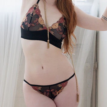 Sheer Floral String Bikini With Organic Cotton  by OnTheInside