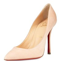 Christian Louboutin Decoltish Suede 100mm Red Sole Pump, Doudou