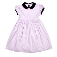 Cotton Gathered Party Dress with Velvet