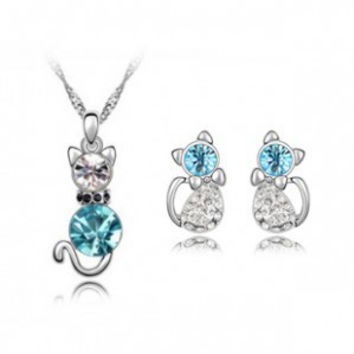 Fast Shipping Retail Romantic Engagement Silver Plated Cute Cat Jewelry Sets Necklace Earrings with Austrian Crystal For Women