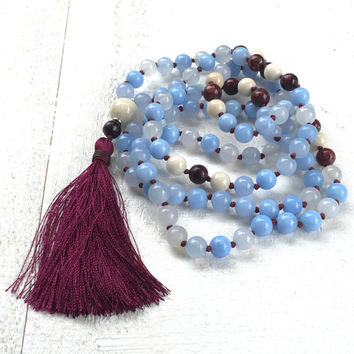 Sky Blue Agate Knotted Mala Beads, Knotted Mala Necklace, River Stone Mala, 108 Beaded Mala, Unique Gemstone Prayer Beads, Yoga Mala Beads