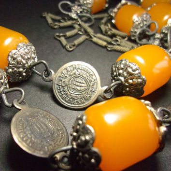 Butterscotch Bakelite Coin Necklace, Brass Links, Vintage