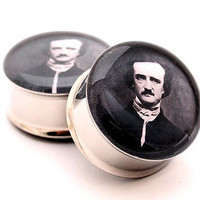 Pair of Edgar Allan Poe Picture Plugs gauges Choose Size new