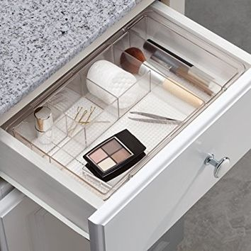 InterDesign Expandable Cosmetic Drawer Organizer for Vanity Cabinet to Hold Makeup, Beauty Products - Clear