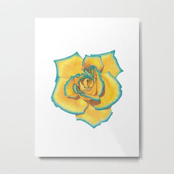 Yellow and Turquoise Rose Metal Print by drawingsbylam