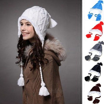 Lady Women Knit Winter Warm Crochet Hat Braided Baggy Beret Beanie Cap 6 Color c = 1958036036