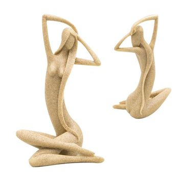 Sandstone Crafts Long Hair Girl Figurine Girl Modern Statue Sculpture Ornament Home Wine Cabinet Living Room Craft Decor 3