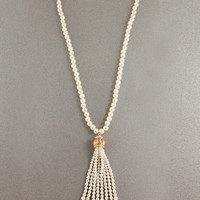 Glam Chic Long Pearl Tassel Necklace