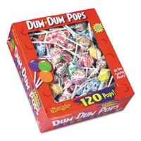 Dum-Dum-Pops, Assorted Flavors, Individually Wrapped, 120 Count Box, 100/Box