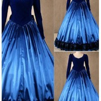 Simple Blue Long Sleeves Gothic Victorian Dress - DevilInspired.co.uk