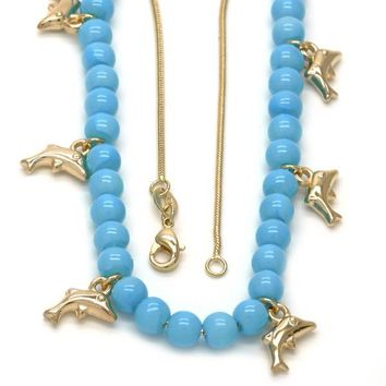 Gold Layered 04.32.0008.3.18 Fancy Necklace, Dolphin and Rat Tail Design, Blue Resin Finish, Golden Tone